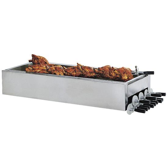 Edelstahlschneidblech für Hähnchen mit Spießfach
