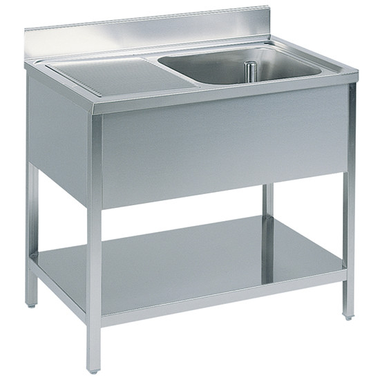 Arbeitstisch mit Becken rechts, mit Zwischenboden, mit Aufkantung, 1600x700 mm