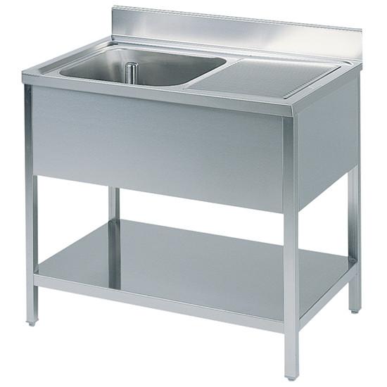Arbeitstisch mit Becken links, mit Zwischenboden, mit Aufkantung, 1800x700 mm