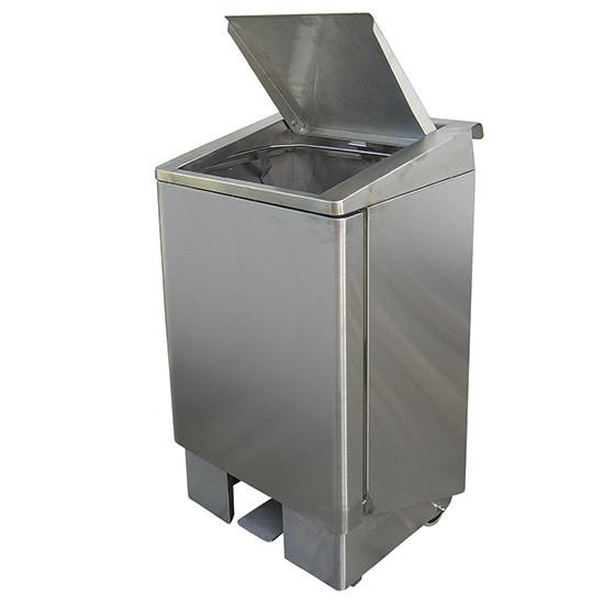 fahrbahrer Abfallbehälter mit Pedal, Edelstahl, 120 Liter
