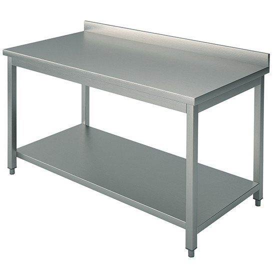 Arbeitstisch, auf Beinen 40x40 mm, mit Zwischenboden, mit Aufkantung, 2200x800 mm