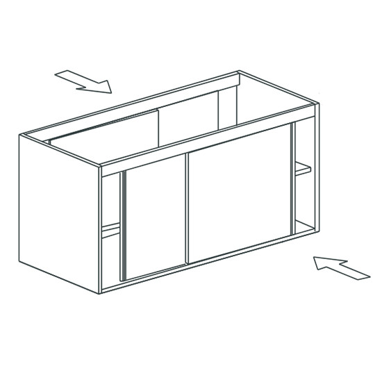 Arbeitsschrank, beidseitig bedienbar, mit Schiebetüren, 1600x700 mm