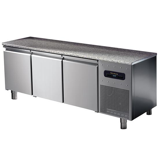 Bäckereikühltisch 3-türig 600x400 mm mit Granitarbeitsplatte