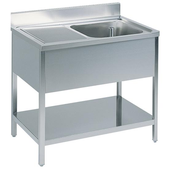 Arbeitstisch mit Becken rechts, mit Zwischenboden, mit Aufkantung, 2000x600 mm