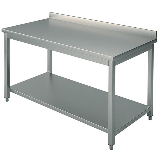 Arbeitstisch, auf Beinen 40x40 mm, mit Zwischenboden, mit Aufkantung, 3000x800 mm