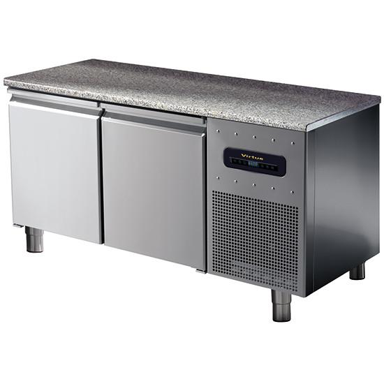 Bäckereitiefkühltisch 2-türig 600x400 mm mit Granitarbeitsplatte