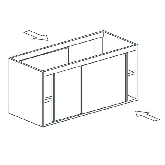 Arbeitsschrank, beidseitig bedienbar, mit Schiebetüren, 1100x700 mm