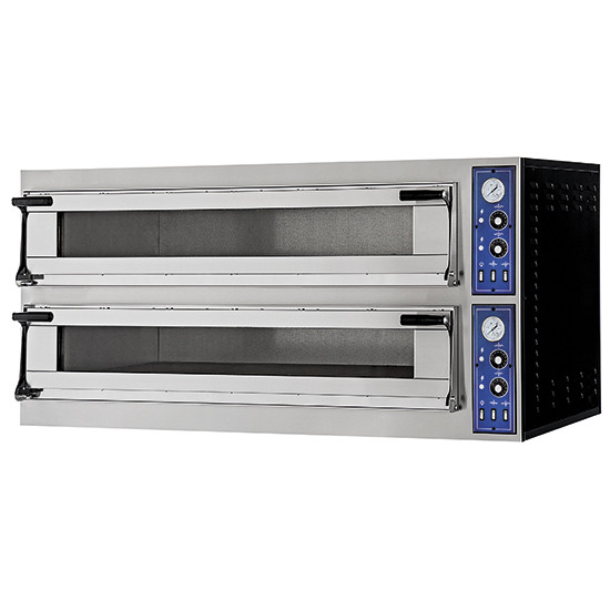 Virtus Elektro-Pizzaofen für 4+4 Pizzen Ø 400 mm, mechanische Bedienung