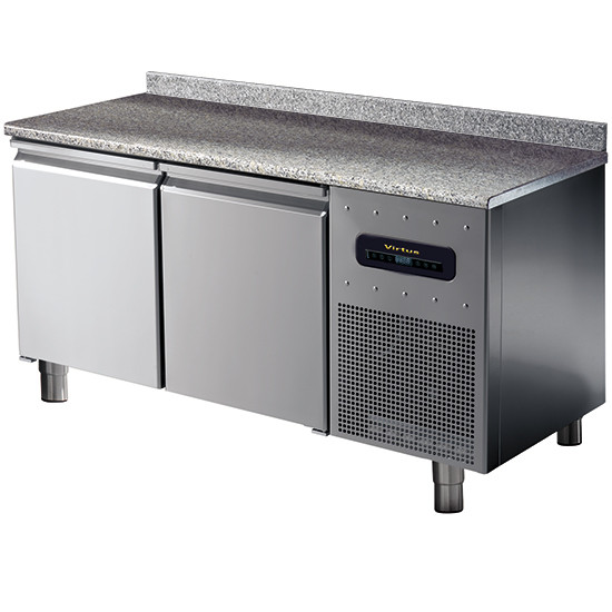 Bäckereitiefkühltisch 2-türig 600x400 mm mit Granitarbeitsplatte und Aufkantung