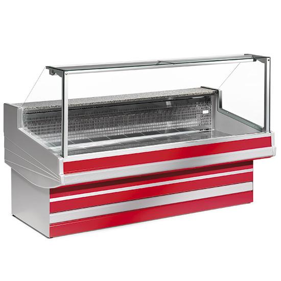 Fleischkühltheke mit gerader Scheibe, statische Kühlung, B=2500 mm