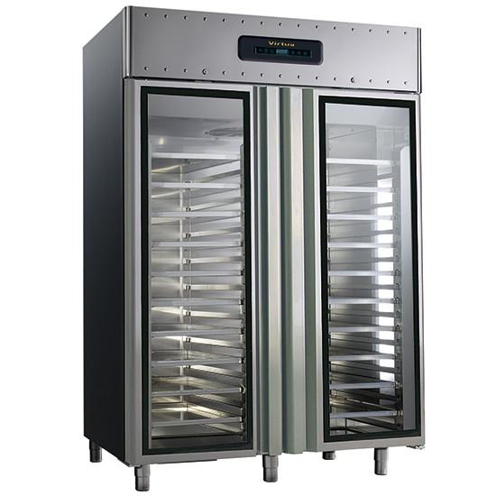 Bäckereitiefkühlschrank 600x400 mm 1400 Liter aus Edelstahl mit Glastüren, -10 °C/-30 °C