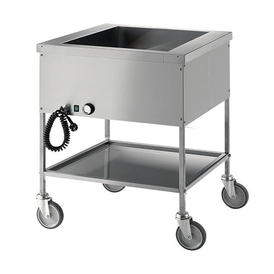 Bain Marie-Wagen mit Zwischenboden, 1 Becken, 1 Temperatur, 3x GN 1/1