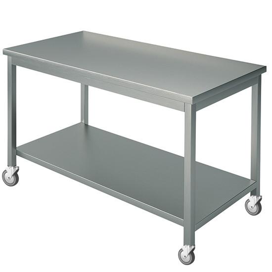 Arbeitstisch, mit 4 Aufkantungen, mit Zwischenboden, auf Rädern, 2250x800 mm